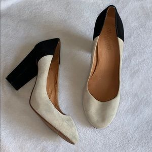 Madewell genuine suede nude and black heels!